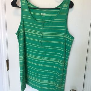 Green and Yellow Striped Tank Top